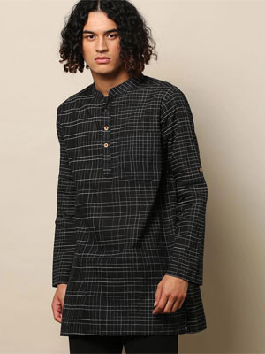 A solid black coloured short kurta with sleeves until elbows and with thin white stripes crossing each other all over.
