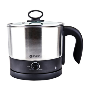 Electric Multi Cook Kettle – Black base with a stainless steel body and a black knob