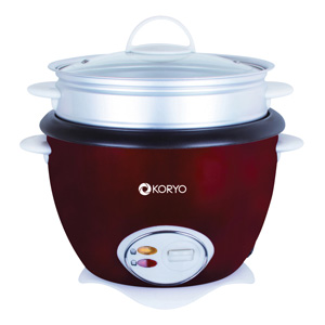 Electric Cooker – Rich deep wine red base with black and stainless steel top. Side and top handles for easy handling