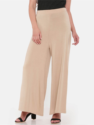 Wide-legged, high waisted cream pants