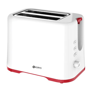 Pop Up Toaster – White body with a bright red base and red knob
