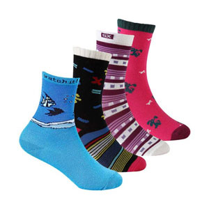 Pack of 4 mid-crew socks for boys with a combination of different colors and patterns