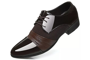 Formal black shoe with combination of chocolate brown, black and steel grey.
