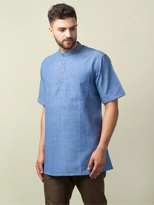 A sea blue coloured short kurta with half sleeves and chinese collar.