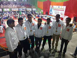 Photograph of competitors standing from left to right: Dhaval Trivedi, Manjeet Kank, Jaydeep Singh, Indrayani Deole, Mahesh Mhabdi, Rahul Navghane and Saurabh Chheda.