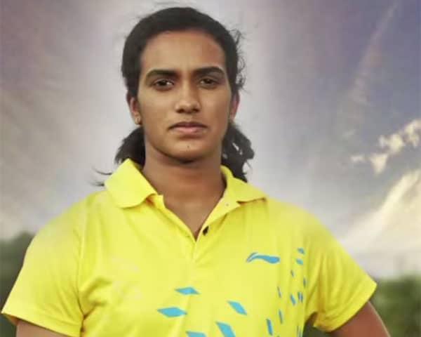 Sindhu playing badminton