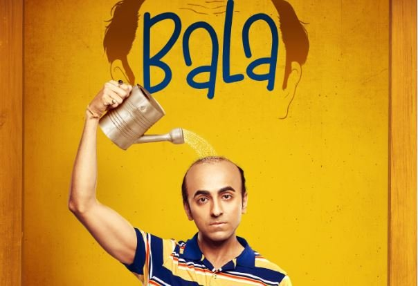 image of bald Ayushmann watering his scalp