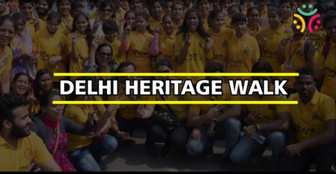 a group photo with Delhi Heritage Walk written across it