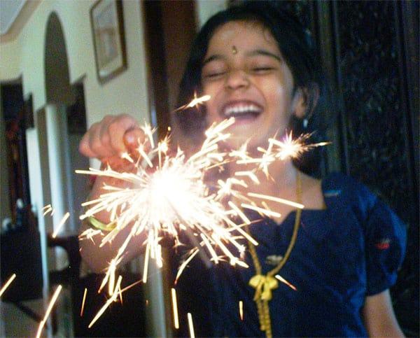 a lighted sparkler