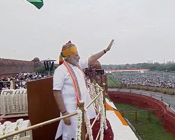 Image of Narendra Modi at independence day celebrations