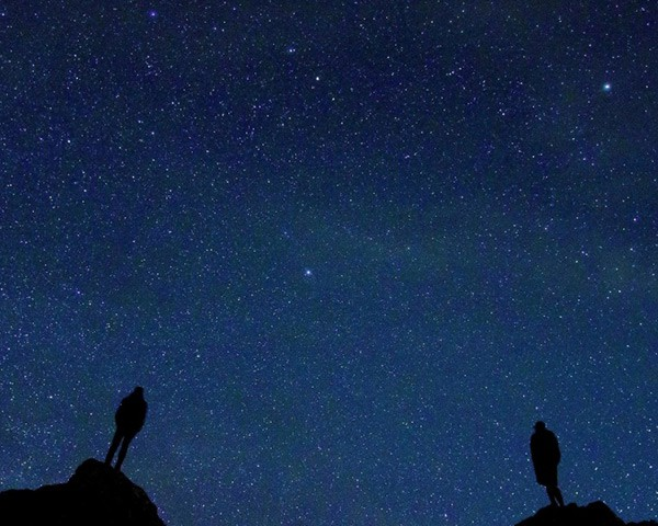 People watching the sky filled with stars at night time