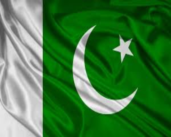 Image of Pakistan flag which is a combination of green and a white with a white crescent