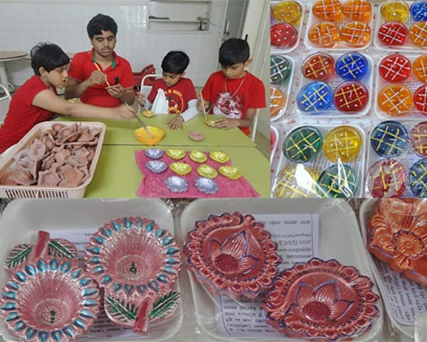 a collage of images with children & diwali products