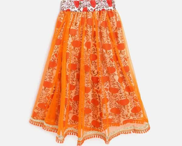 Picture of orange and white floral ghagra having thin net fabric