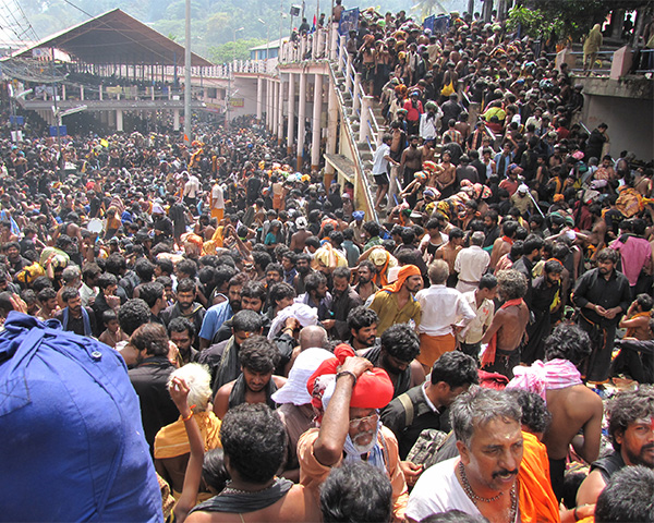 Image of devotees gathered outside Sabrimala temple