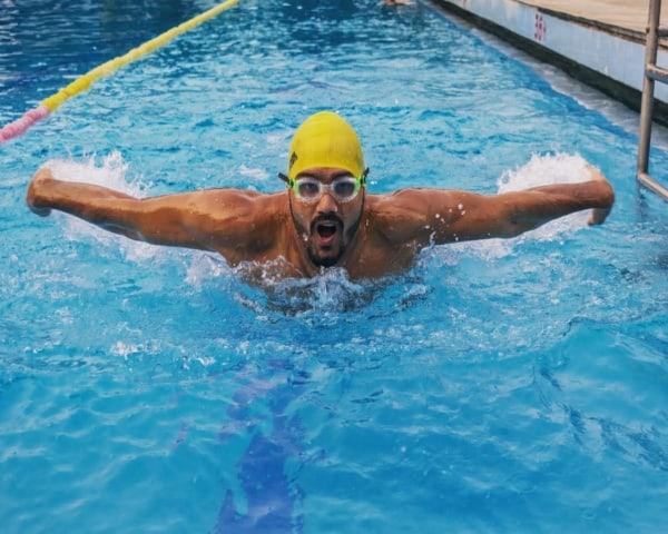 Satendra Singh swimming
