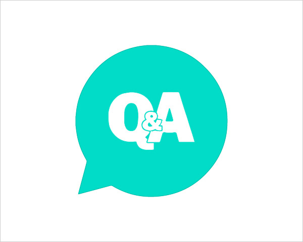 speech bubble with Q&A wrtiien in it