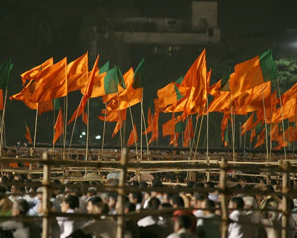 Orange flags of the BJP at a rally