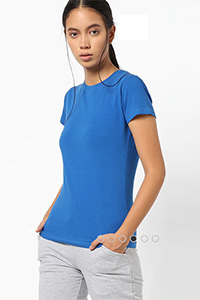 A model wearing a blue coloured T-shirt.