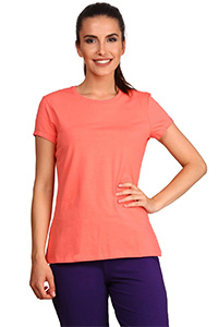 A model wearing a pink coloured T-shirt.