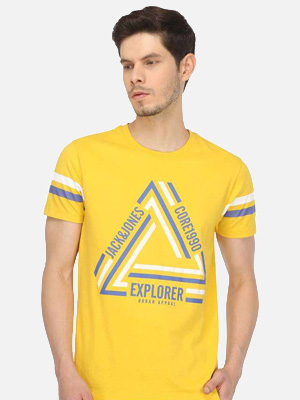 Classic short sleeved yellow T-shirt with triangular pattern.