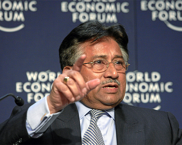 Pervez Musharraf speaking at an event in past
