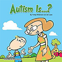 Cartoon image of boy and a girl with Autism Is printed on top.