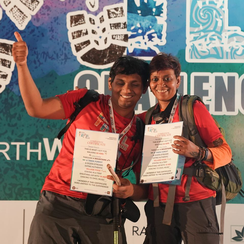 Sanket and Anusha with certificates after finishing the challenge