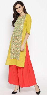 A dull lime green kurta with slits on both sides and a thin coral red piping around the neck.
