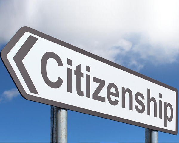 A sign with the words citizenship
