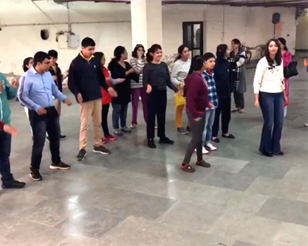 participants in Flash Mob practice session