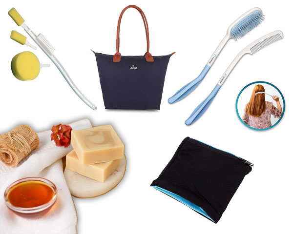 Products of brush, soap, wallet, comb and tote bag