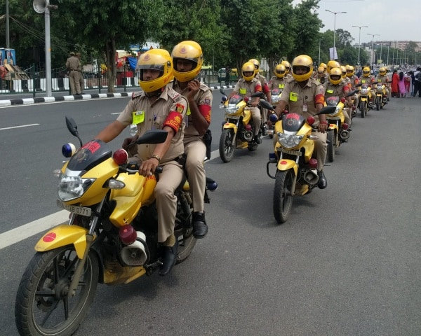 A team of Delhi Police on bikes