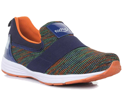 A shoe having mixed colours of green, orange and blue.