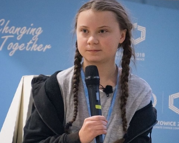 Image of Greta Thunberg speaking