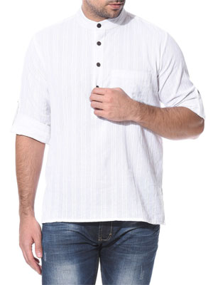 A white coloured short kurta with long sleeves and faint grey vertical stripes and four black buttons in front.