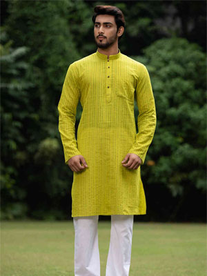 A lime green coloured knee kurta with full length sleeves and mandarin collar.
