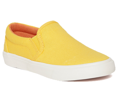 A yellow coloured shoe.