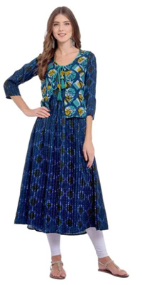 Printed, navy blue kurta with gathers and a printed front jacket.