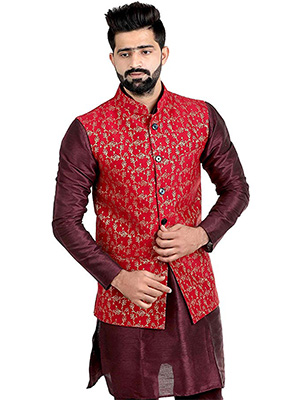 A model wearing a red Silk nehru jacket on maroon coloured shirt