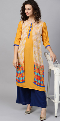 A mustard and beige layered kurta with thin navy-blue piping around the sleeves.
