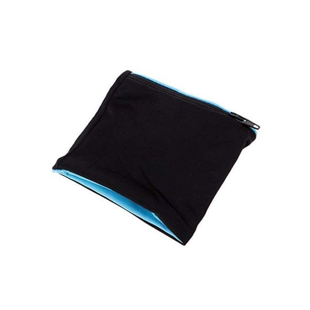 A wristband sweat wallet with zipper.