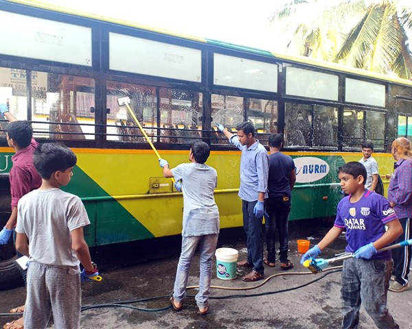 disabled people clean ksrtc bus