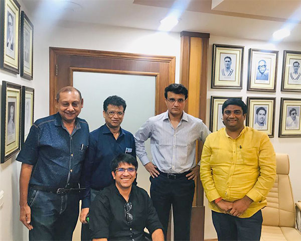 Members of physically disabled cricket association with BCCI chief Saurav Ganguly.