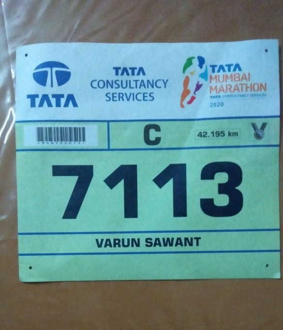 Varun's marathon bib with number 1713