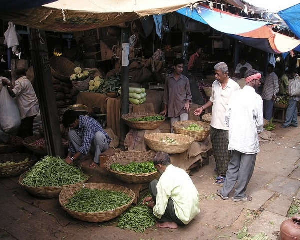 People at a vegetable shop