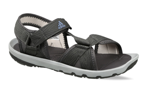 A sandal with colour combination of light grey and black.
