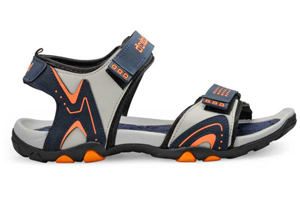 A sandal with colour combination of light grey, black and patches of orange on the side.