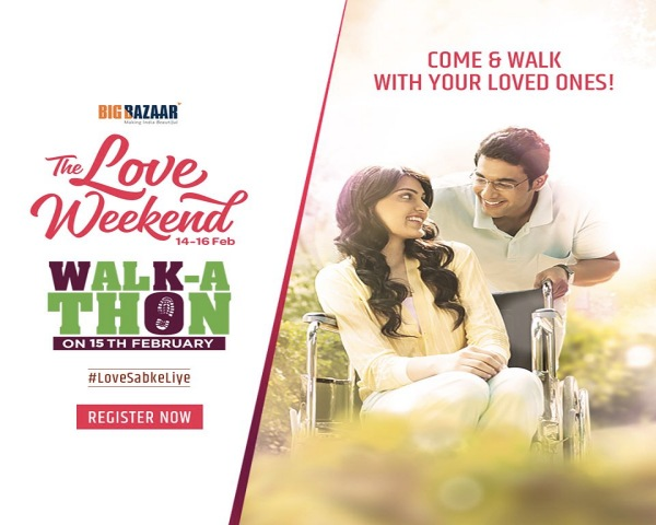 Image of a couple - The Love Weekend 14-16 Feb Walk-a-thon on 15th February #LoveSabkeLiye Register now along with Big Bazaar logo.