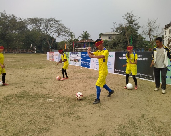 Blind football camp in DImapur